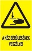 Vigyázat! Kézsérülés veszélye! (TÁBLA)