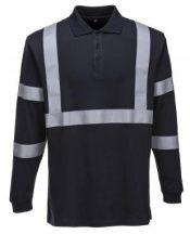 FR03 - Lángálló,antisztatikus hosszú ujjú pólóing, fényvisszaverő csíkkal - tengerészkék,XL