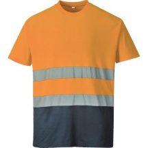 S173 - Kéttónusú Pamut komfort póló - Narancs (XL)