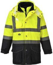 S426 - Hi-Vis 7 az 1-ben kontraszt Traffic kabát ( Sárga/Navy XL)