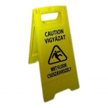 W0020 - Csúszásveszély figyelmeztető tábla, magyar felirattal - sárga