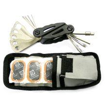 28 darabos kerékpárjavító-készlet (kulcsok + ragasztókészlet)