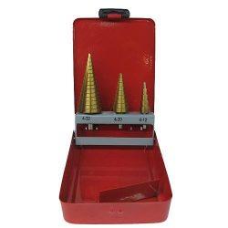 STRUD PRO SETS SS421, 4-12, 4-20, 4-32 mm, TiN, HSS 4241,lépcsős fúrószár