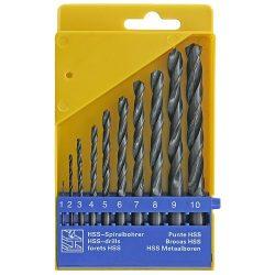 Fémfúró készlet 10db ,1-10m,HSS,PVC box